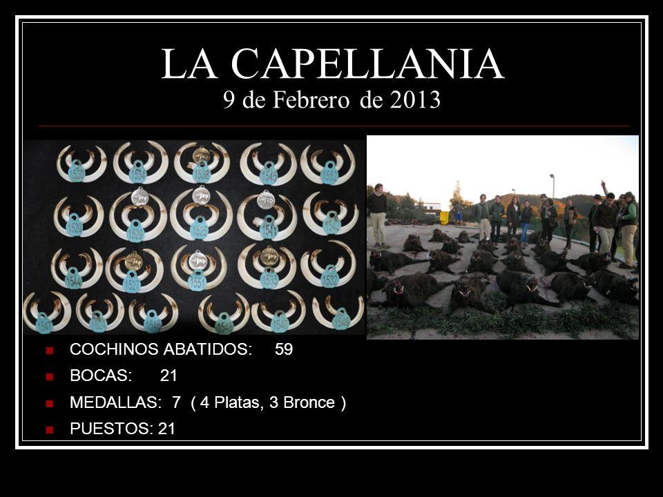 LA CAPELLANIA 9 de Febrero de 2013 COCHINOS ABATIDOS: 59 BOCAS: 21 MEDALLAS: 7 ( 4 Platas, 3 Bronce ) PUESTOS: 21