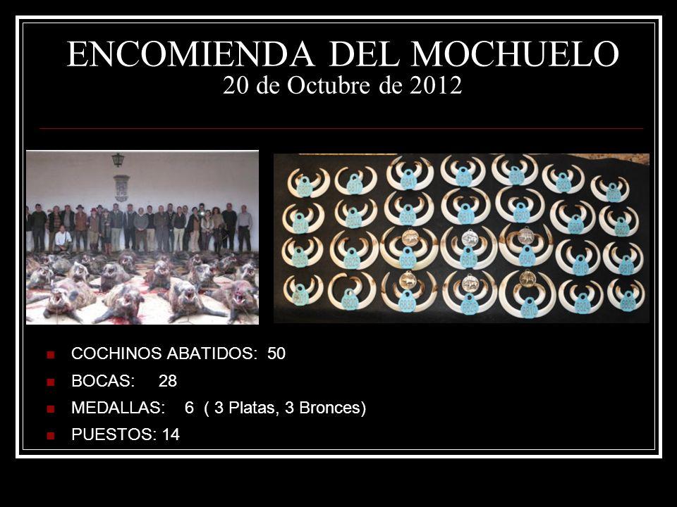 ENCOMIENDA DEL MOCHUELO 20 de Octubre de 2012 COCHINOS ABATIDOS: 50 BOCAS: 28 MEDALLAS: 6 ( 3 Platas, 3 Bronces) PUESTOS: 14