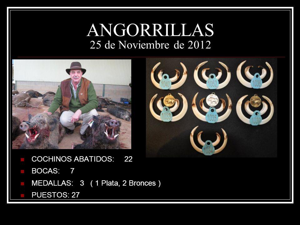 ANGORRILLAS 25 de Noviembre de 2012 COCHINOS ABATIDOS: 22 BOCAS: 7 MEDALLAS: 3 ( 1 Plata, 2 Bronces ) PUESTOS: 27