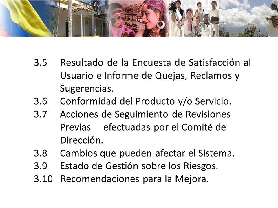 3.5 Resultado de la Encuesta de Satisfacción al Usuario e Informe de Quejas, Reclamos y Sugerencias. 3.6 Conformidad del Producto y/o Servicio. 3.7 Ac