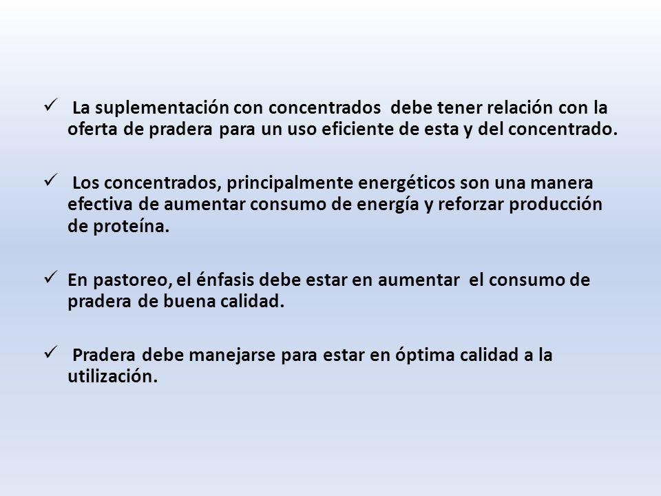 La suplementación con concentrados debe tener relación con la oferta de pradera para un uso eficiente de esta y del concentrado.