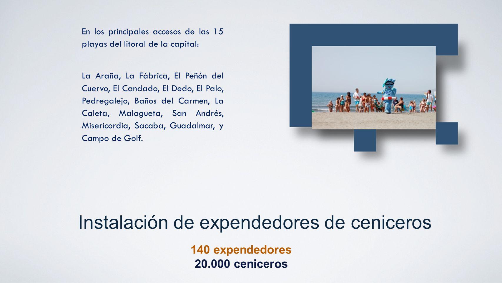 Instalación de expendedores de ceniceros 140 expendedores 20.000 ceniceros En los principales accesos de las 15 playas del litoral de la capital: La A