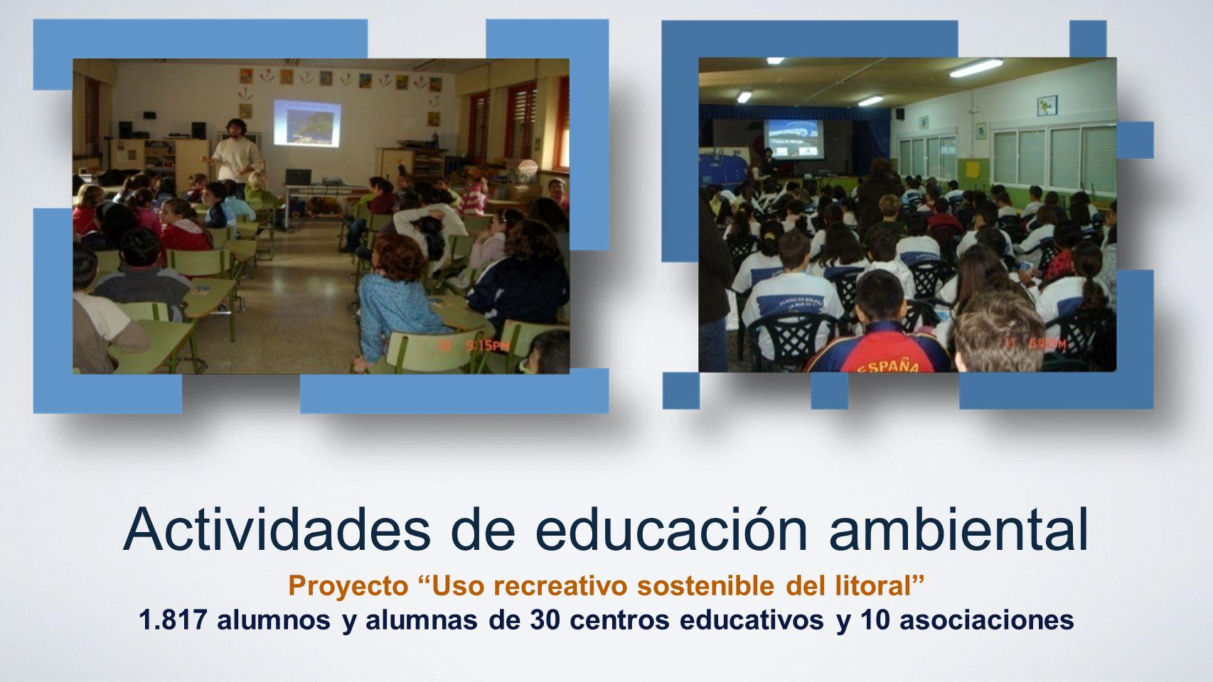 Actividades de educación ambiental Proyecto Uso recreativo sostenible del litoral 1.817 alumnos y alumnas de 30 centros educativos y 10 asociaciones