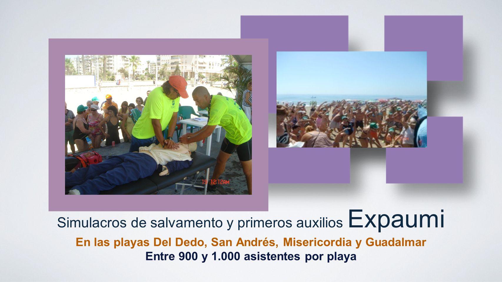 Simulacros de salvamento y primeros auxilios Expaumi En las playas Del Dedo, San Andrés, Misericordia y Guadalmar Entre 900 y 1.000 asistentes por pla