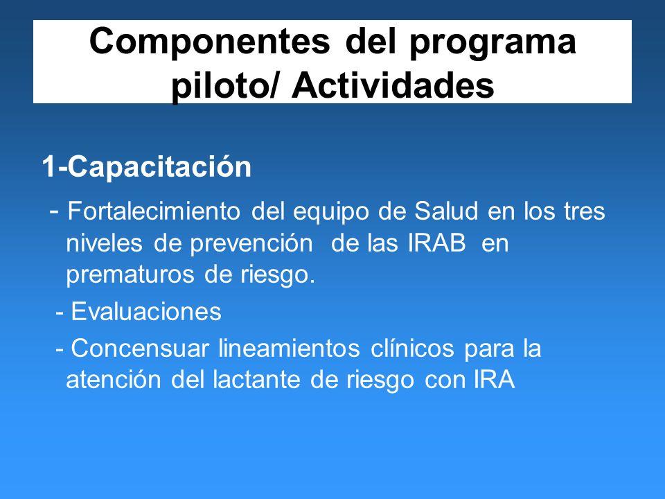 Componentes del programa piloto/ Actividades 1-Capacitación - Fortalecimiento del equipo de Salud en los tres niveles de prevención de las IRAB en prematuros de riesgo.