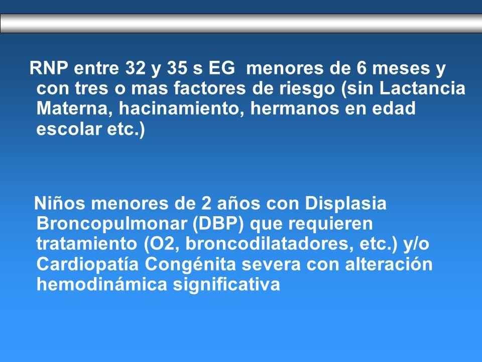 RNP entre 32 y 35 s EG menores de 6 meses y con tres o mas factores de riesgo (sin Lactancia Materna, hacinamiento, hermanos en edad escolar etc.) Niños menores de 2 años con Displasia Broncopulmonar (DBP) que requieren tratamiento (O2, broncodilatadores, etc.) y/o Cardiopatía Congénita severa con alteración hemodinámica significativa