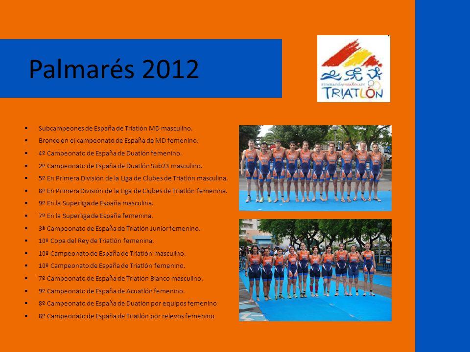 Palmarés 2012 Subcampeones de España de Triatlón MD masculino. Bronce en el campeonato de España de MD femenino. 4º Campeonato de España de Duatlón fe