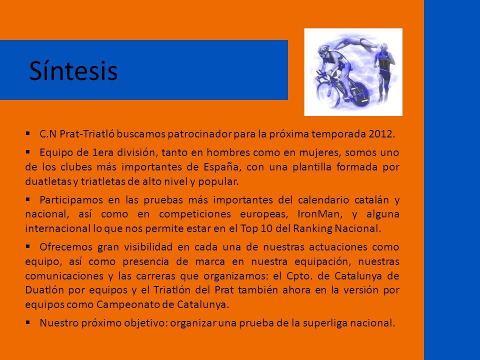 Síntesis C.N Prat-Triatló buscamos patrocinador para la próxima temporada 2012. Equipo de 1era división, tanto en hombres como en mujeres, somos uno d