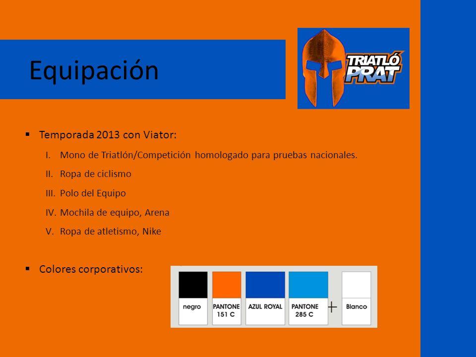 Equipación Temporada 2013 con Viator: I.Mono de Triatlón/Competición homologado para pruebas nacionales. II.Ropa de ciclismo III.Polo del Equipo IV.Mo