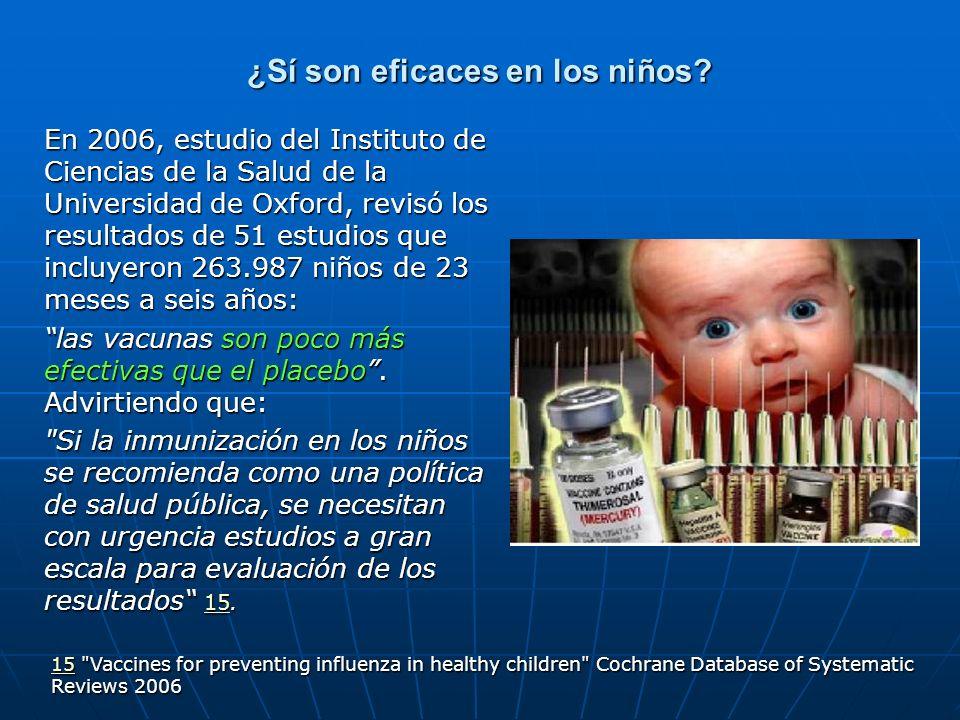 ¿Sí son eficaces en los niños? En 2006, estudio del Instituto de Ciencias de la Salud de la Universidad de Oxford, revisó los resultados de 51 estudio