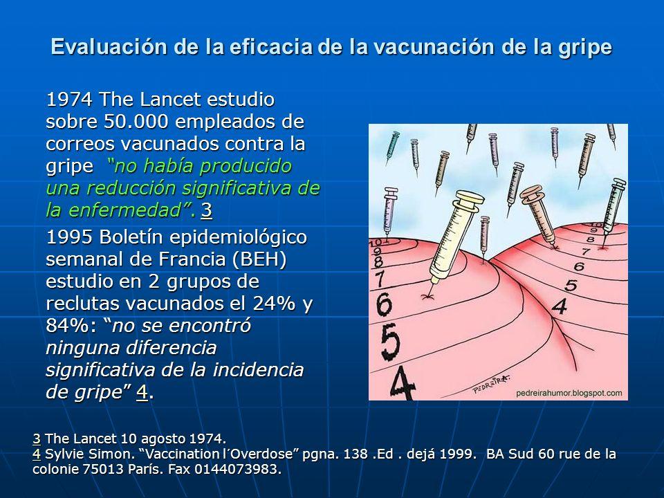 Ineficacia reconocida por Cochrane En 2004 un análisis realizado en la prestigiosa base internacional de datos Cochrane sobre tres diferentes tipos de vacunas de la gripe y sus efectos sobre la enfermedad en casi 60.000 adultos sanos encontró que las vacunas recomendadas tomadas anualmente resultaban mayormente inefectivas en la prevención de la gripe.