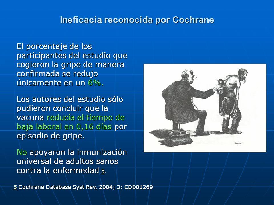Ineficacia reconocida por Cochrane El porcentaje de los participantes del estudio que cogieron la gripe de manera confirmada se redujo únicamente en u