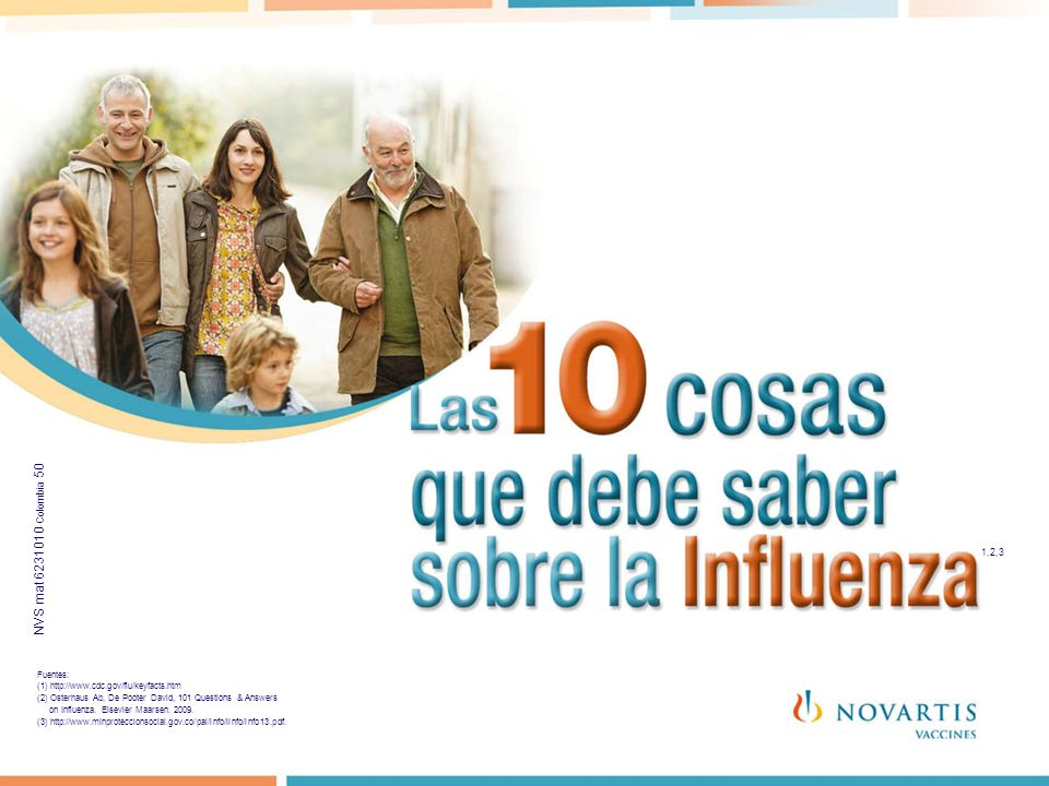 1,2 1,2,3 Fuentes: (1) http://www.cdc.gov/flu/keyfacts.htm (2) Osterhaus Ab, De Pooter David, 101 Questions & Answers on Influenza. Elsevier Maarsen.