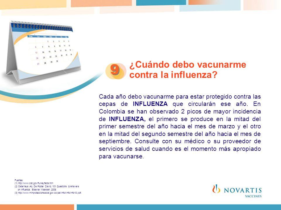 ¿Cuándo debo vacunarme contra la influenza? 9 9 Cada año debo vacunarme para estar protegido contra las cepas de INFLUENZA que circularán ese año. En