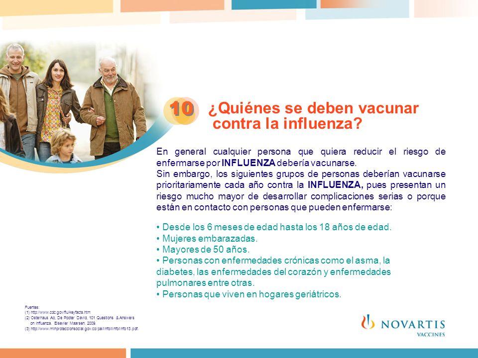 ¿Quiénes se deben vacunar contra la influenza? 10 En general cualquier persona que quiera reducir el riesgo de enfermarse por INFLUENZA debería vacuna