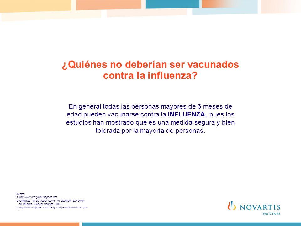 ¿Quiénes no deberían ser vacunados contra la influenza? En general todas las personas mayores de 6 meses de edad pueden vacunarse contra la INFLUENZA,