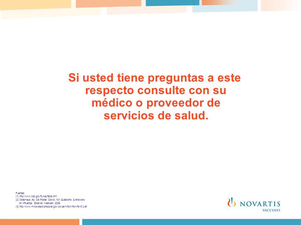 Si usted tiene preguntas a este respecto consulte con su médico o proveedor de servicios de salud. Fuentes: (1) http://www.cdc.gov/flu/keyfacts.htm (2