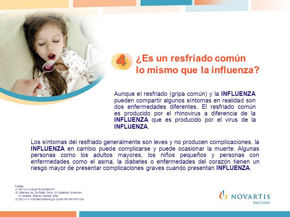 ¿Es un resfriado común lo mismo que la influenza? 4 4 Aunque el resfriado (gripa común) y la INFLUENZA pueden compartir algunos síntomas en realidad s