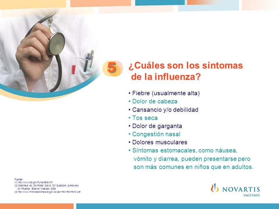 ¿Cuáles son los síntomas de la influenza? Fiebre (usualmente alta) Dolor de cabeza Cansancio y/o debilidad Tos seca Dolor de garganta Congestión nasal