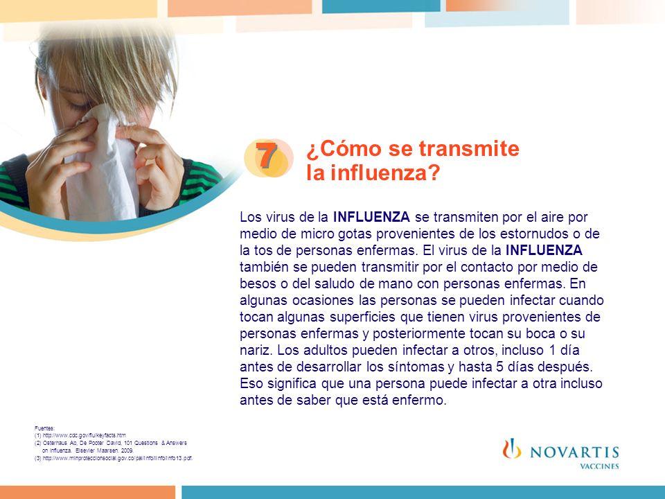 ¿Cómo se transmite la influenza? 7 7 Los virus de la INFLUENZA se transmiten por el aire por medio de micro gotas provenientes de los estornudos o de