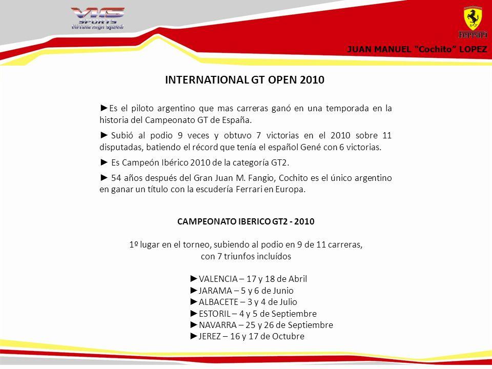 JUAN MANUEL Cochito LOPEZ Es el piloto argentino que mas carreras ganó en una temporada en la historia del Campeonato GT de España.