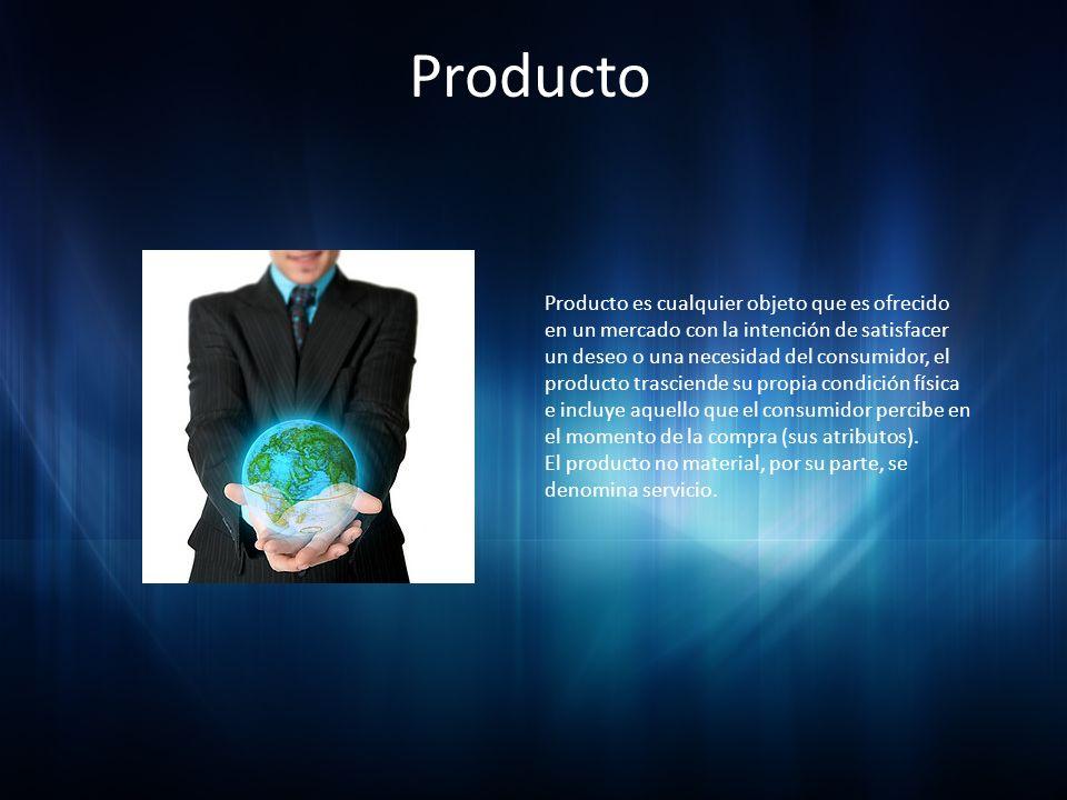 Producto Producto es cualquier objeto que es ofrecido en un mercado con la intención de satisfacer un deseo o una necesidad del consumidor, el product