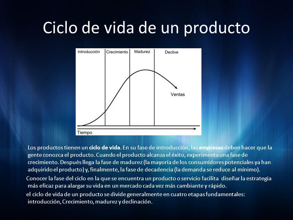 Ciclo de vida de un producto Los productos tienen un ciclo de vida. En su fase de introducción, las empresas deben hacer que la gente conozca el produ