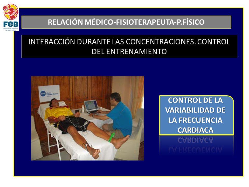 RELACIÓN MÉDICO-FISIOTERAPEUTA-P.FÍSICO INTERACCIÓN DURANTE LAS CONCENTRACIONES. CONTROL DEL ENTRENAMIENTO