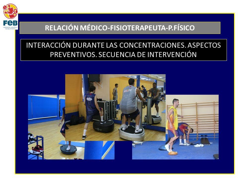 RELACIÓN MÉDICO-FISIOTERAPEUTA-P.FÍSICO INTERACCIÓN DURANTE LAS CONCENTRACIONES. ASPECTOS PREVENTIVOS. SECUENCIA DE INTERVENCIÓN