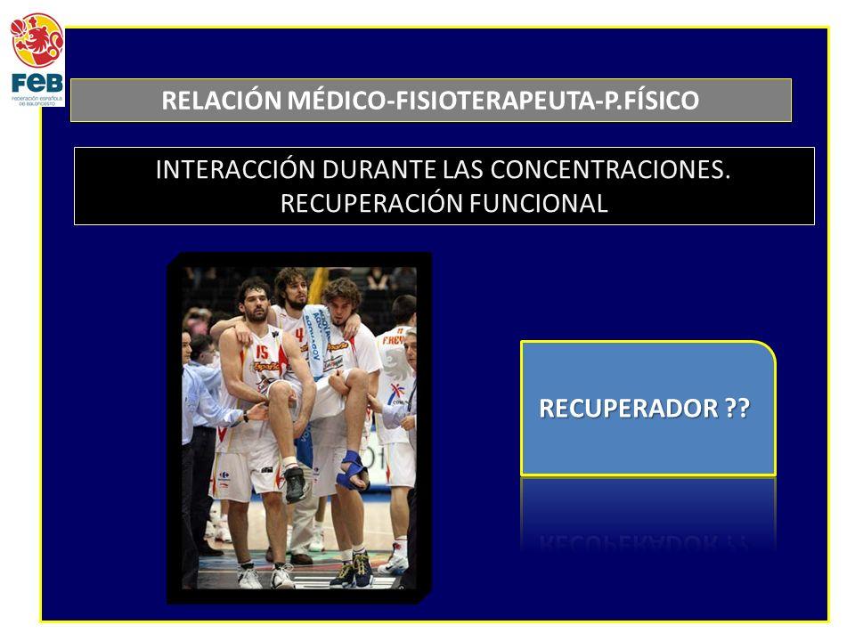 RELACIÓN MÉDICO-FISIOTERAPEUTA-P.FÍSICO INTERACCIÓN DURANTE LAS CONCENTRACIONES.