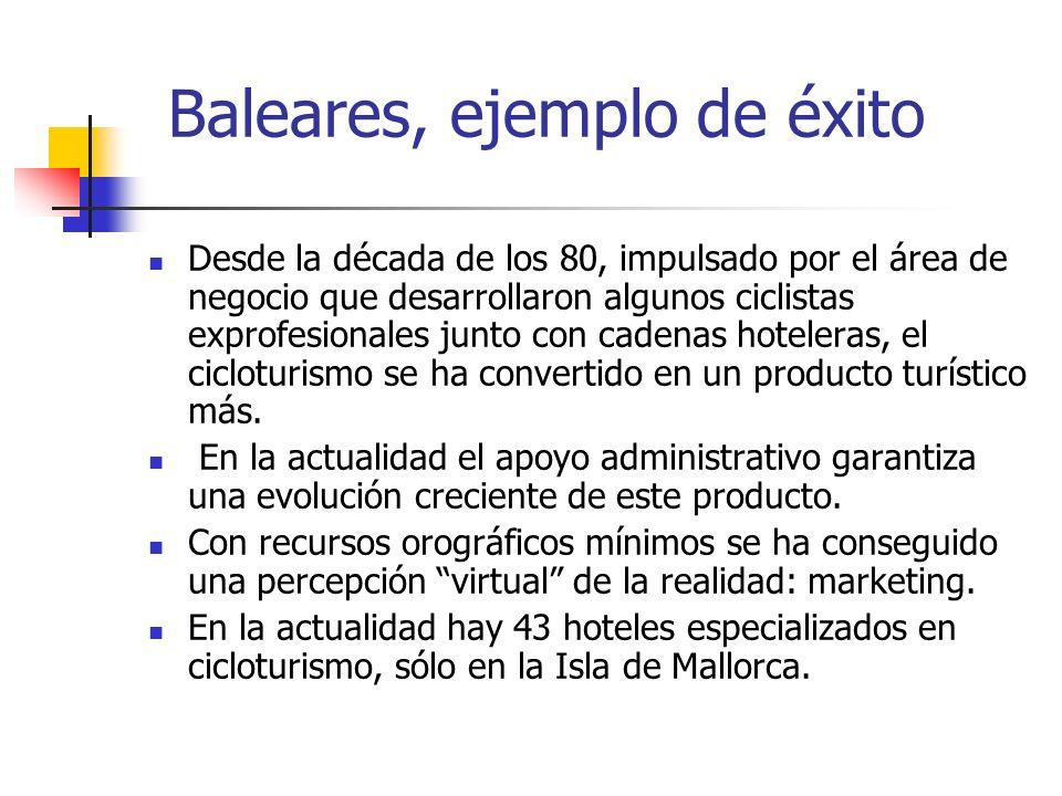 Baleares, ejemplo de éxito Desde la década de los 80, impulsado por el área de negocio que desarrollaron algunos ciclistas exprofesionales junto con cadenas hoteleras, el cicloturismo se ha convertido en un producto turístico más.
