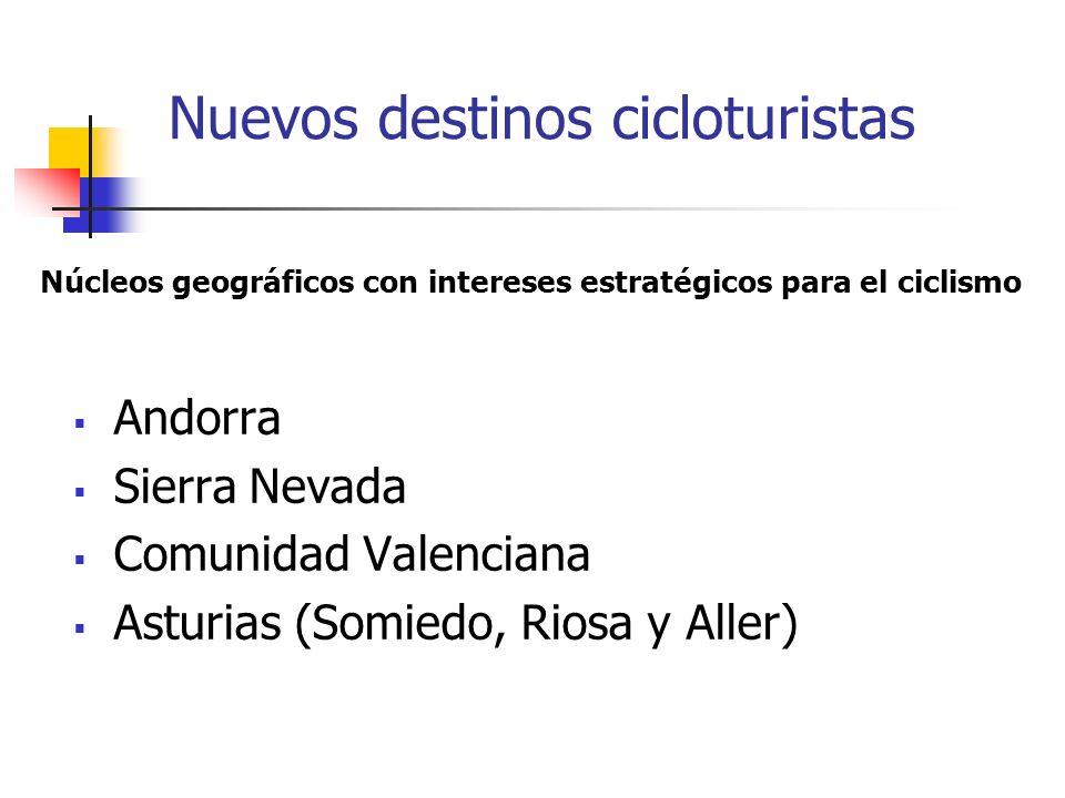 Nuevos destinos cicloturistas Andorra Sierra Nevada Comunidad Valenciana Asturias (Somiedo, Riosa y Aller) Núcleos geográficos con intereses estratégicos para el ciclismo