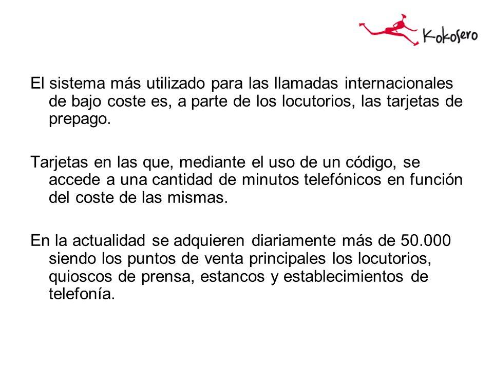 El sistema más utilizado para las llamadas internacionales de bajo coste es, a parte de los locutorios, las tarjetas de prepago.