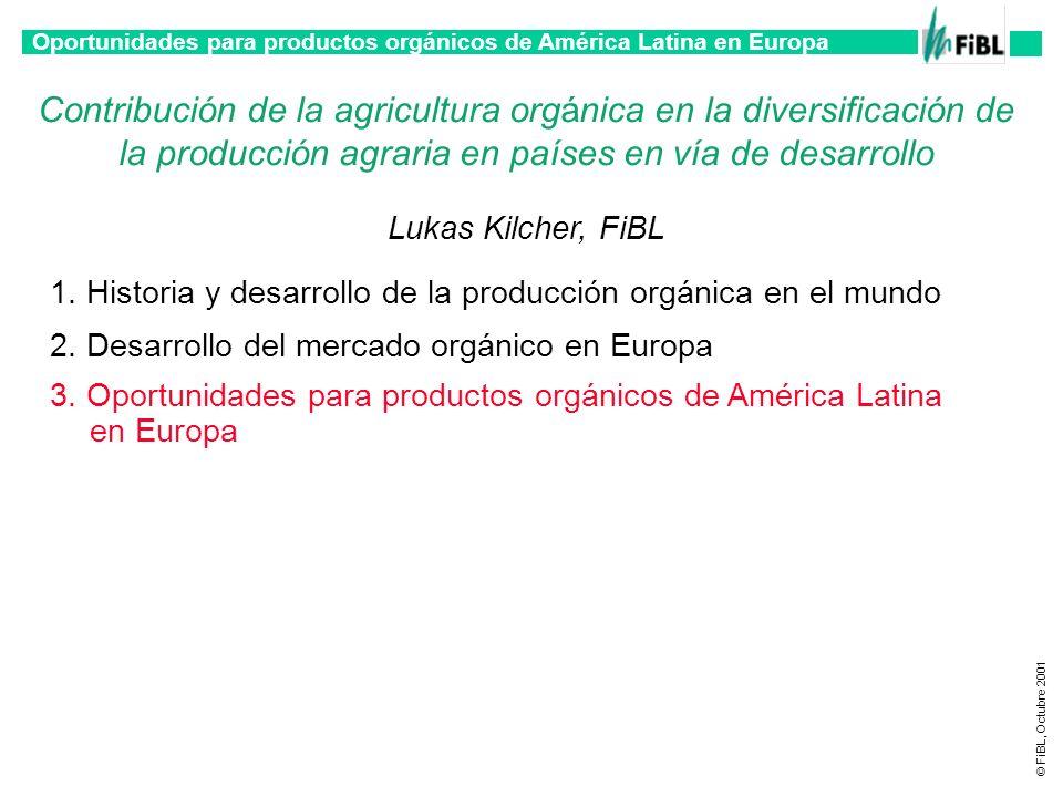 Oportunidades para productos orgánicos de América Latina en Europa © FiBL, Octubre 2001 Contribución de la agricultura orgánica en la diversificación