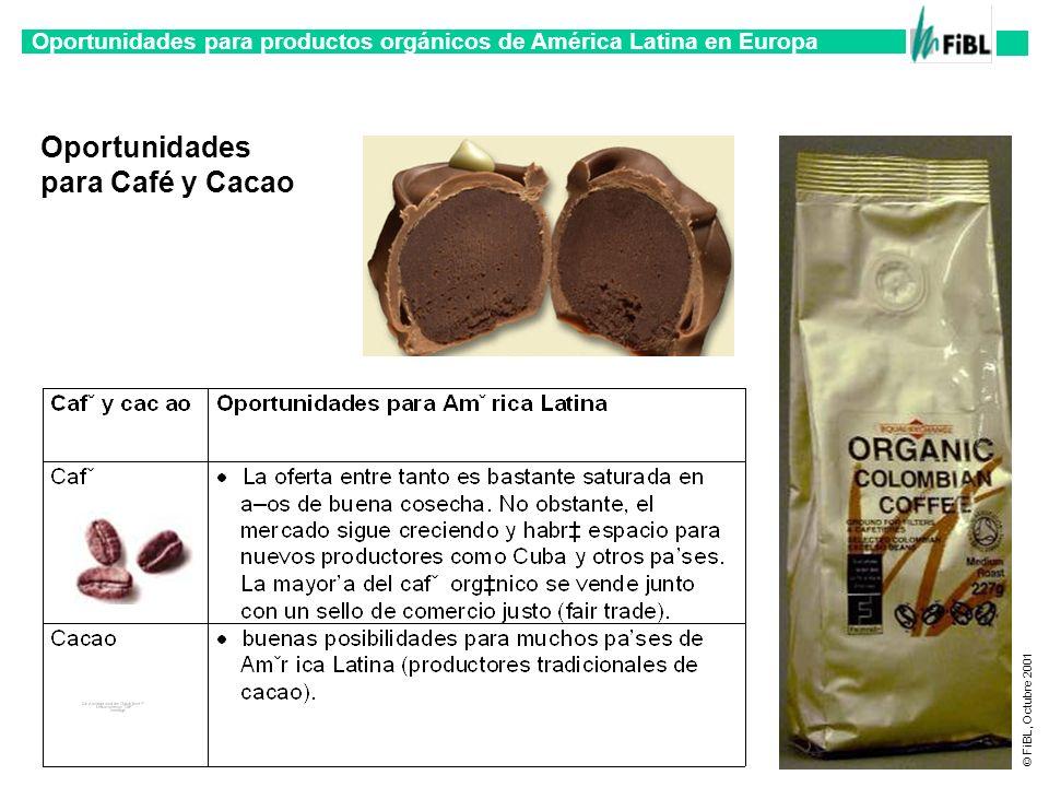 Oportunidades para productos orgánicos de América Latina en Europa © FiBL, Octubre 2001 Oportunidades para Café y Cacao
