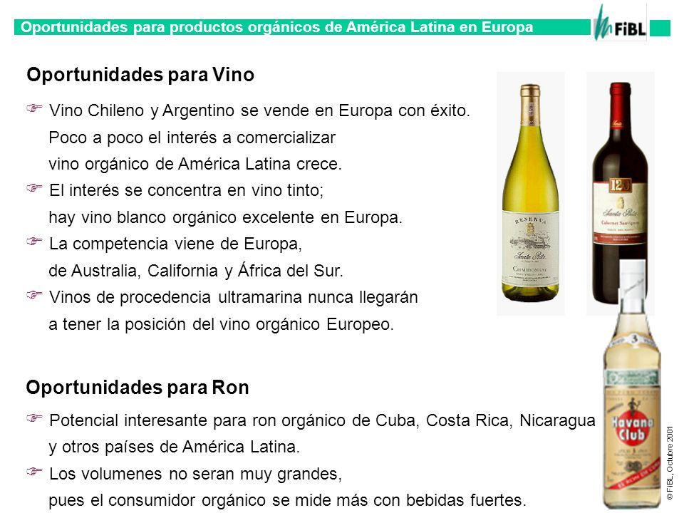 Oportunidades para productos orgánicos de América Latina en Europa © FiBL, Octubre 2001 Vino Chileno y Argentino se vende en Europa con éxito. Poco a