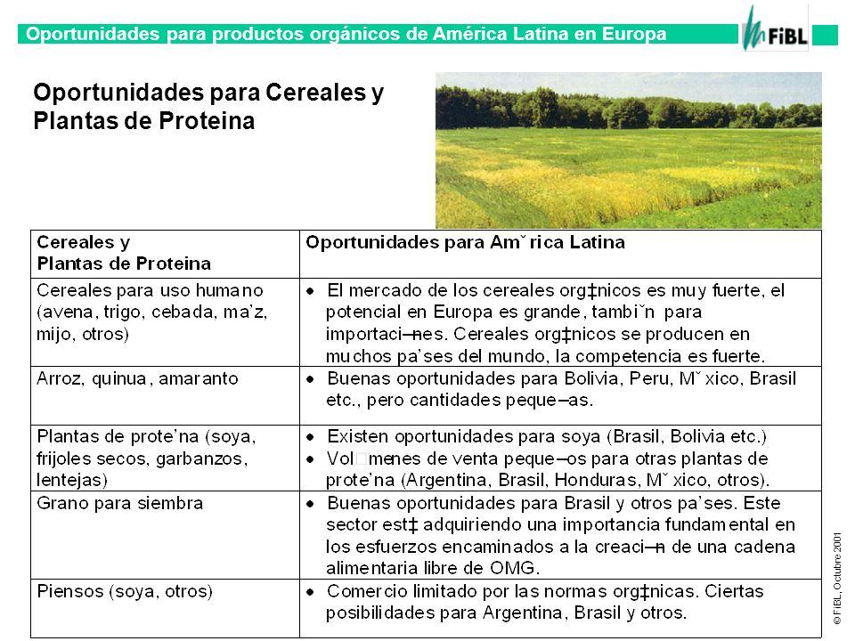 Oportunidades para productos orgánicos de América Latina en Europa © FiBL, Octubre 2001 Oportunidades para Cereales y Plantas de Proteina