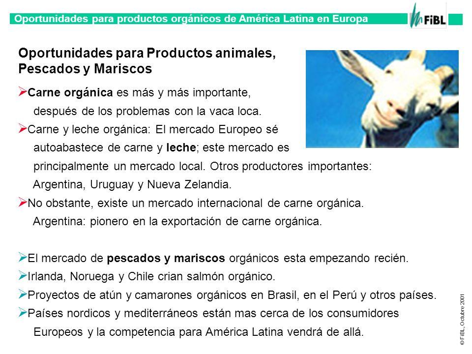 Oportunidades para productos orgánicos de América Latina en Europa © FiBL, Octubre 2001 Oportunidades para Productos animales, Pescados y Mariscos Car