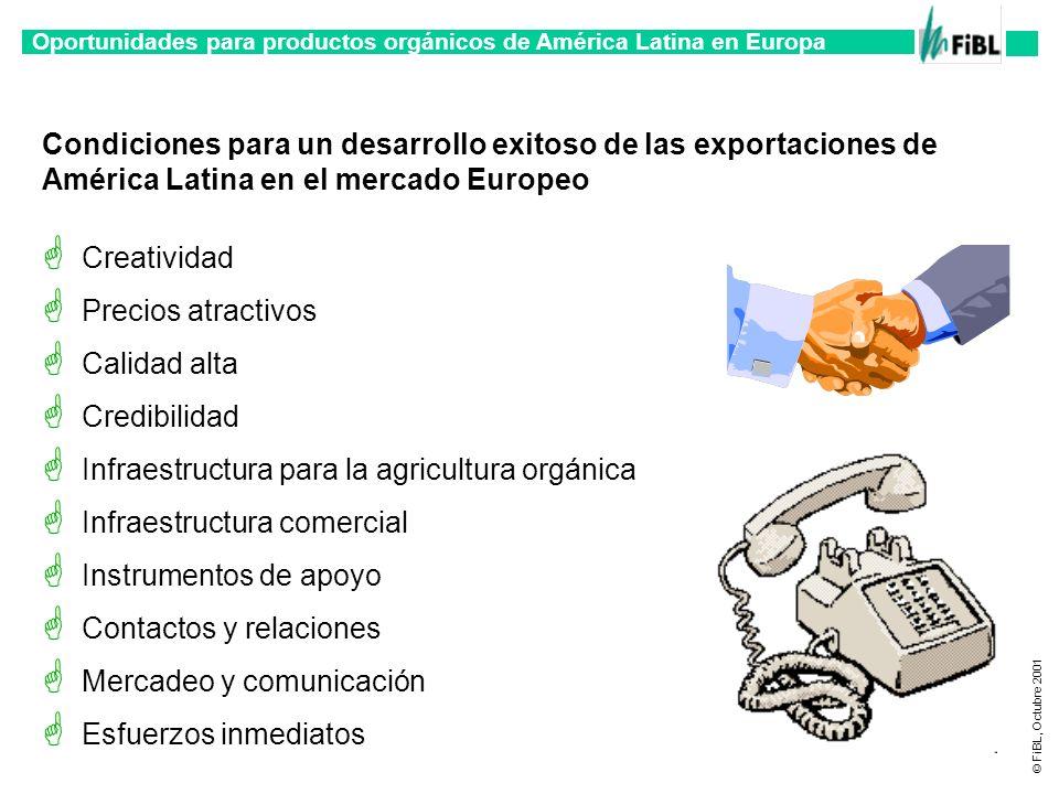 Oportunidades para productos orgánicos de América Latina en Europa © FiBL, Octubre 2001 Condiciones para un desarrollo exitoso de las exportaciones de