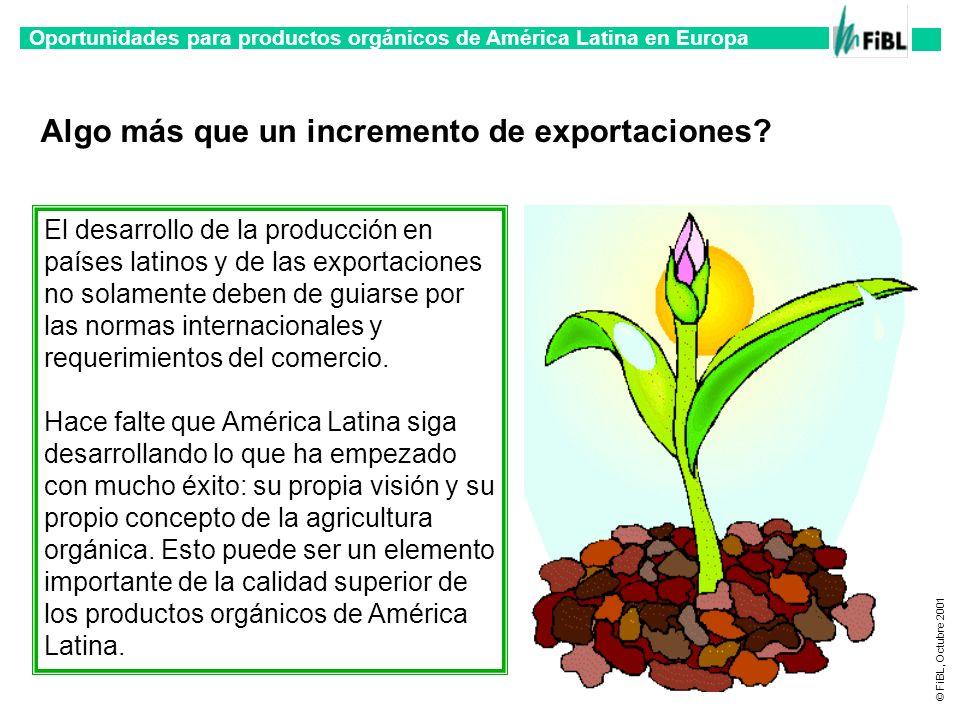 Oportunidades para productos orgánicos de América Latina en Europa © FiBL, Octubre 2001 Algo más que un incremento de exportaciones? El desarrollo de