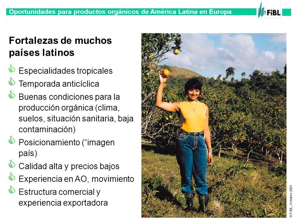 Oportunidades para productos orgánicos de América Latina en Europa © FiBL, Octubre 2001 Fortalezas de muchos países latinos Especialidades tropicales