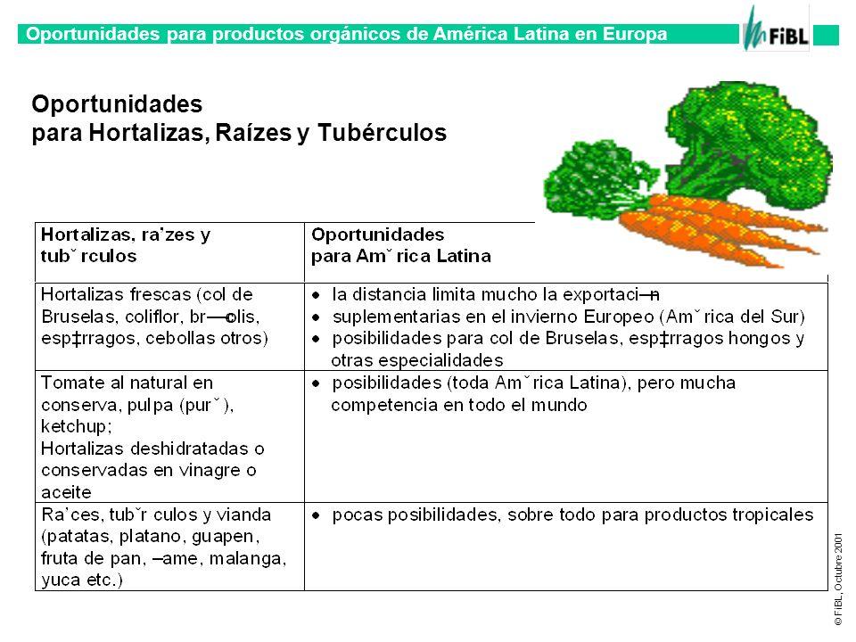 Oportunidades para productos orgánicos de América Latina en Europa © FiBL, Octubre 2001 Oportunidades para Hortalizas, Raízes y Tubérculos