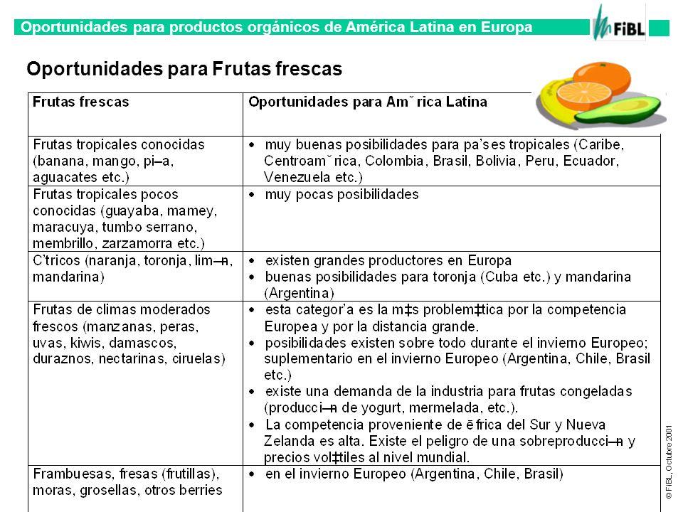 Oportunidades para productos orgánicos de América Latina en Europa © FiBL, Octubre 2001 Oportunidades para Frutas frescas