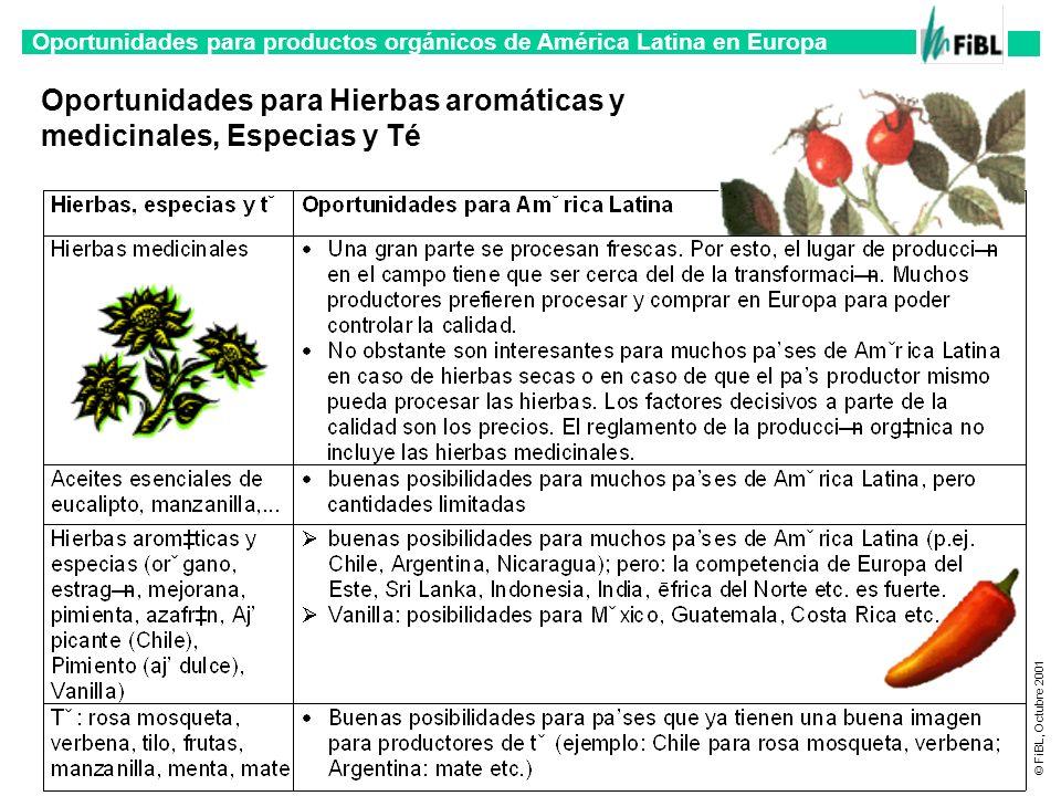 Oportunidades para productos orgánicos de América Latina en Europa © FiBL, Octubre 2001 Oportunidades para Hierbas aromáticas y medicinales, Especias