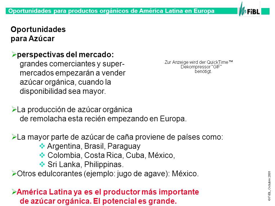 Oportunidades para productos orgánicos de América Latina en Europa © FiBL, Octubre 2001 Oportunidades para Azúcar perspectivas del mercado: grandes co