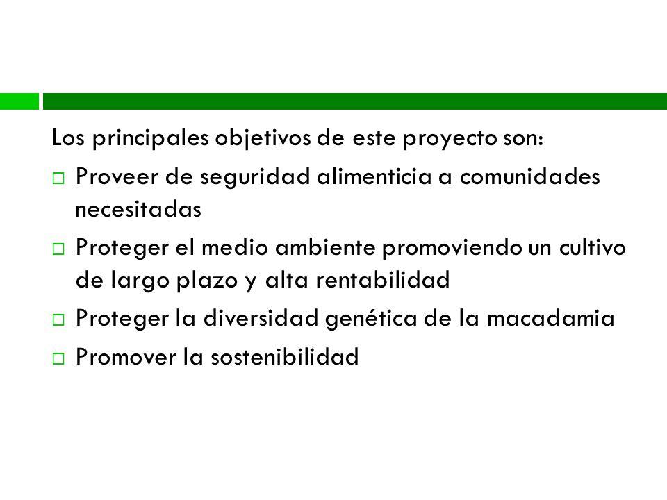 Metas del Proyecto Los principales objetivos de este proyecto son: Proveer de seguridad alimenticia a comunidades necesitadas Proteger el medio ambiente promoviendo un cultivo de largo plazo y alta rentabilidad Proteger la diversidad genética de la macadamia Promover la sostenibilidad