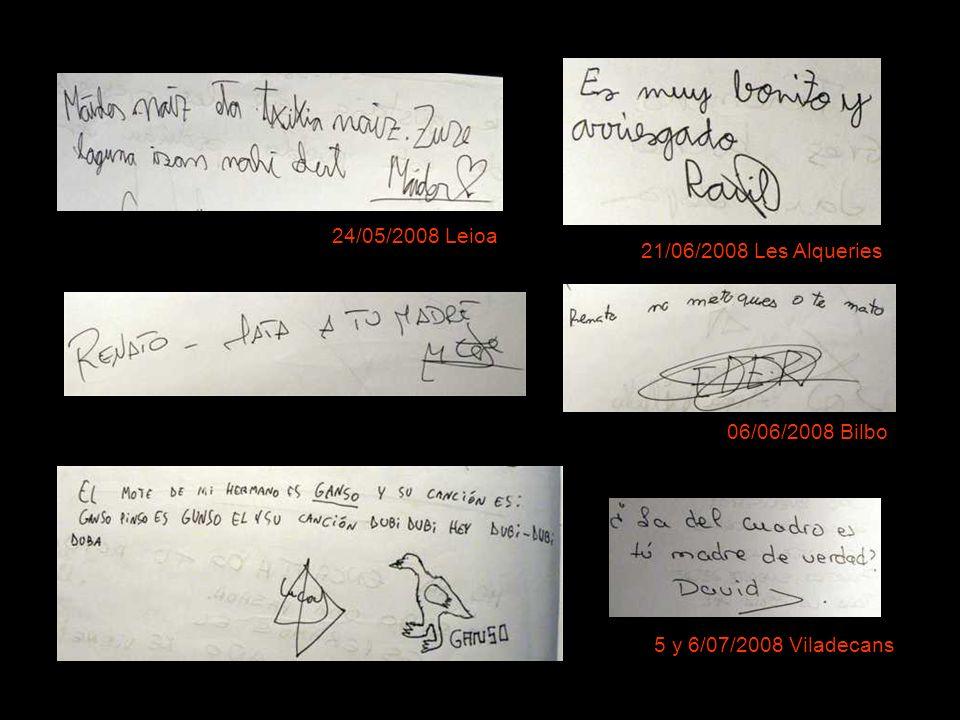 24/05/2008 Leioa 21/06/2008 Les Alqueries 06/06/2008 Bilbo 5 y 6/07/2008 Viladecans