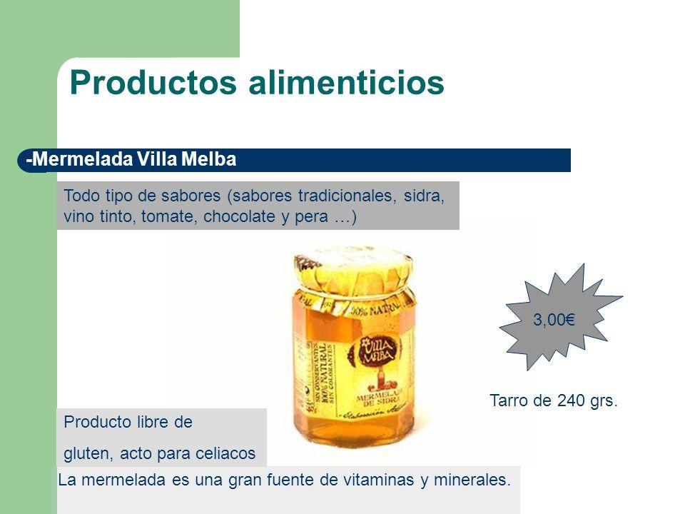 Productos alimenticios -Mermelada Villa Melba La mermelada es una gran fuente de vitaminas y minerales. 3,00 Todo tipo de sabores (sabores tradicional