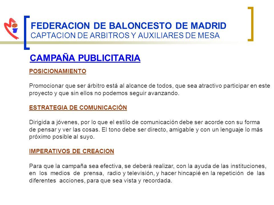FEDERACION DE BALONCESTO DE MADRID CAPTACION DE ARBITROS Y AUXILIARES DE MESA CAMPAÑA PUBLICITARIA POSICIONAMIENTO Promocionar que ser árbitro está al