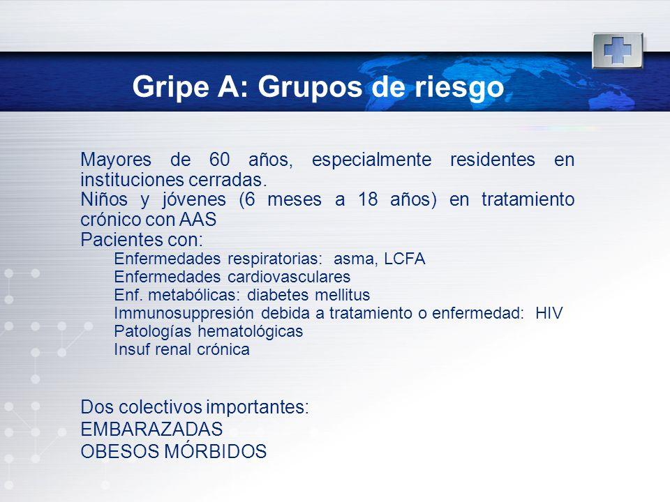 Gripe A: Grupos de riesgo Mayores de 60 años, especialmente residentes en instituciones cerradas. Niños y jóvenes (6 meses a 18 años) en tratamiento c